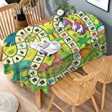 shirlyhome Indoor Outdoor Tablecloth Board Game Soil Resistant Table Cover Cute Dinosaurs Jungle for Spring Outdoor Camping Picnic 54x84 Inch Oval