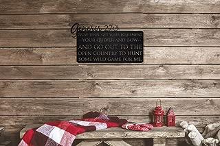 Genesis 27:3 Laser Cut Bible Verse Deer Hunting Metal Wall Art Sign for Home Cabin Decor (Black)