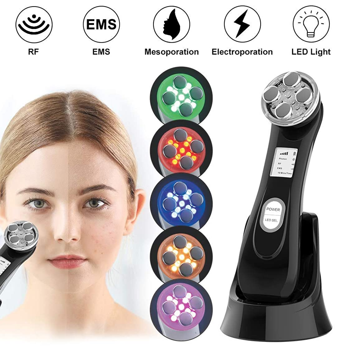 色クールモジュール肌の引き締め機、しわ除去機、6 in 1 RF美容アンチエイジングアンチニキビフェイシャルリフティング美容機高周波USB充電式EMS超音波LEDフェイシャルフォトンフェイススキンケア