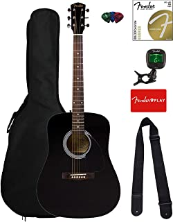 Best Fender FA-115 Dreadnought Acoustic Guitar - Black Bundle with Gig Bag, Tuner, Strings, Strap, and Picks Review