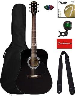 Fender FA-115 Dreadnought Acoustic Guitar - Black Bundle with Gig Bag, Tuner, Strings, Strap, and Picks