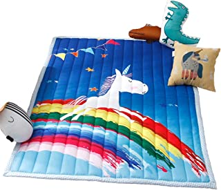 Nicebabe Play Mat for Baby Kids Toddler Children Bedroom Decor Living Room Rugs Soft & Thick Non-Slip Crawling Mat Foldable (Rainbow Horse)