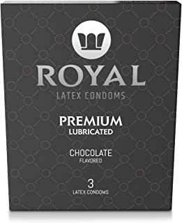 Royal Ultra-Thin Latex Condoms - Chocolate Flavored and Lubricated - Strong, Non-Toxic Latex - All Natural, Organic, Vegan, No Cruelty Contraceptive - Snug Fit, Accurate Sizing - 3 Pack