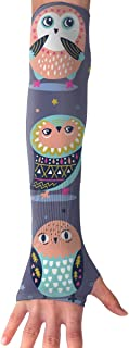 RZM YLY Unisex Tribe Owls and Stars Arm Sleeves UV Sun Protective Slim Tattoo Arm Gloves Long Sleeve Perfect for Running (...