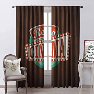 GloriaJohnson Movie Theater Shading Insulated Curtain Retro Style Cinema Sign Design Film Festival Hollywood Theme Soundproof Shade W52 x L108 Inch Brown Turquoise Vermilion