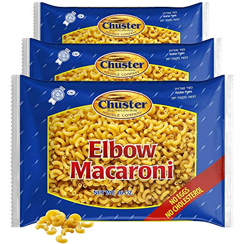Chuster Elbow Macaroni Pasta Noodle | Vitamin Enriched | Perfect for Meat, Cheese, Butter-Based Sauces| Cooks in 15 Min | No Eggs, All Natural No Sodium, Cholesterol Free, Kosher Parve| 3 Pack - 16oz