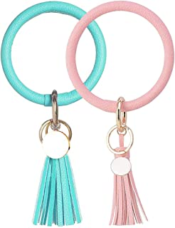 MANIHO 2PCS Leather Bracelet Keychain Wristlet Bangle Keyring Tassel Key Ring Keychain for Women Girls