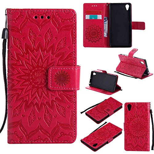 pinlu PU Leder Tasche Etui Schutzhülle für Sony Xperia X Performance Lederhülle Schale Flip Cover Tasche mit Standfunktion Sonnenblume Muster Hülle (Rot)