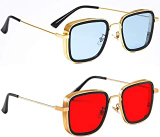 Badfella Unisex Adult Rectangular Sunglasses (Gold Frame, Blue & Red Lens) (One Size) - Pack of 2