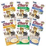 INABA Churu Lickable Creamy Purée Cat Treats 3 Flavor Variety Pack of 24 Tubes