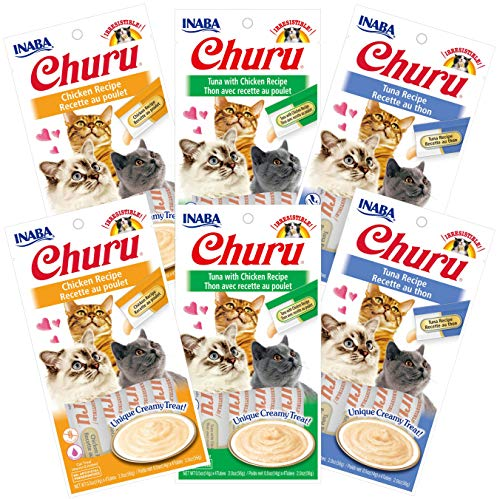 INABA Churu Lickable Creamy Purée Cat Treats 3 Flavor Variety Pack of 24 Tubes