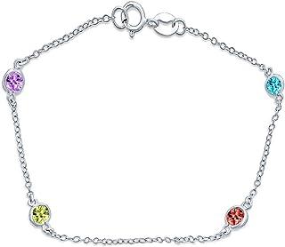 Multi Colore Cubic a zorconia c'è da il pollice Anklet Link Ankle Bracelet per donne oro placcato sterlina 9-10 in
