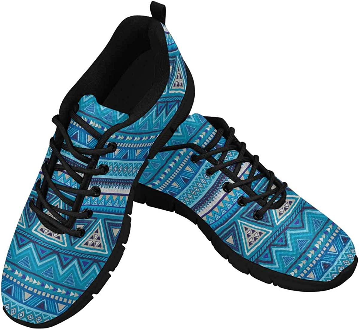 INTERESTPRINT Colorful Mexican Pattern Women's Athletic Mesh Breathable Casual Sneakers Fashion Tennis Shoes