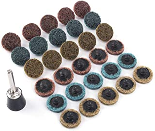 31Pcs 1'' Roloc Surface Conditioning Buffing Dics Quick Change Prep Polishing Pad Set with 1Pc 1/4'' Holder (1inch Set)