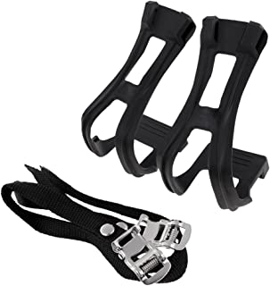 Perfeclan MTB Road Bike Mountain Fixed Gear Cycling Bicycle Toe Clips and Strap Set