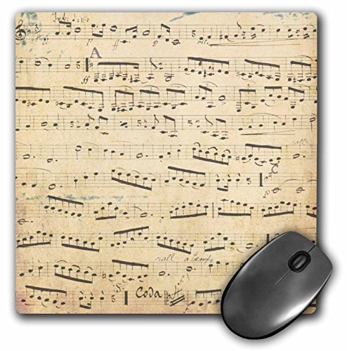 3dRose LLC 8 x 8 x 0.25 Inches Mouse Pad, Grunge Musical Notes - Vintage Sheet Music - Yellowed Piano Notation - Pianist and Musician Gifts (mp_120273_1)