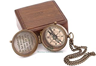 Roorkee Instruments India Thoreau's Famous Quote Engraved Compass with Indian Rose Wood case, Camping Compass, Baptism Compass, Gift Compass, Graduation Day Gifts.