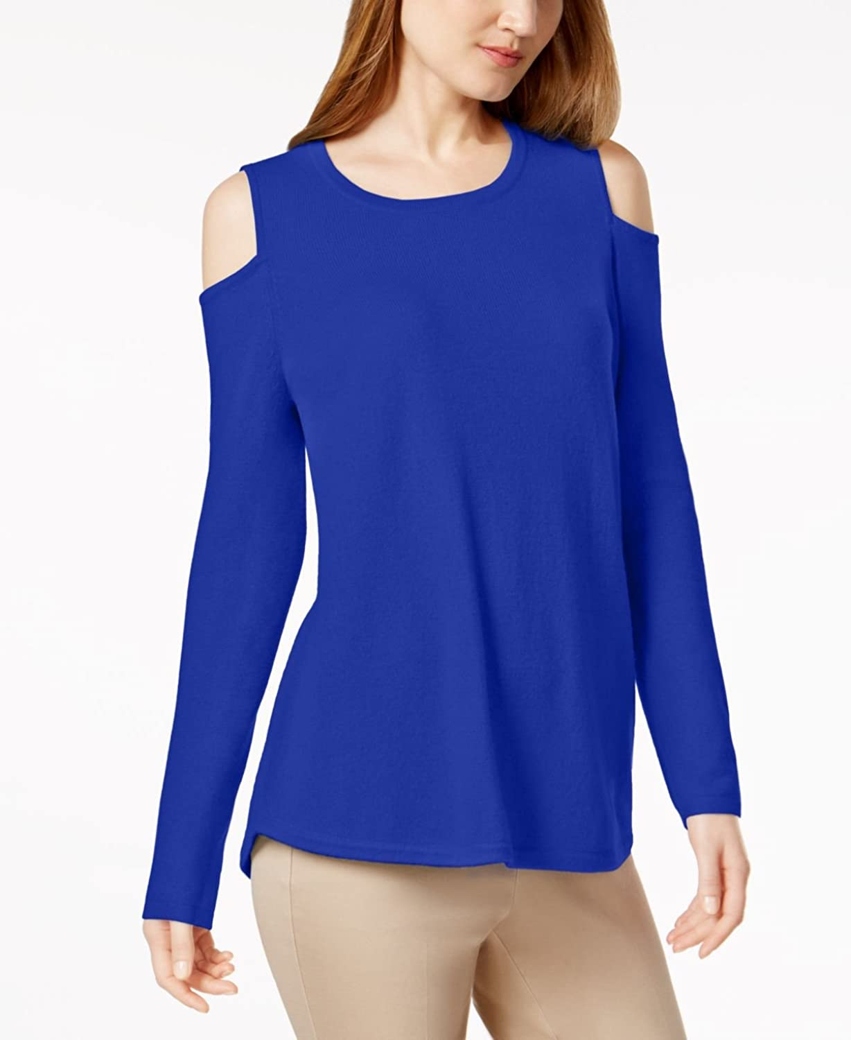 Charter Club Petite 100% Cashmere ColdShoulder Sweater in Bright bluee