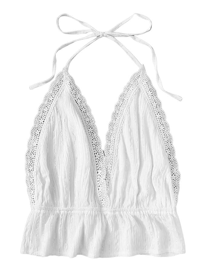SweatyRocks Women's Deep V Neck Halter Crop Cami Top Sleeveless Vest
