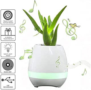 Smart Music Flower Pot Speaker Simple Design Smaller and Fresh Wireless Bluetooth 4.1 USB Speaker for Home and Office Use (Color : White)