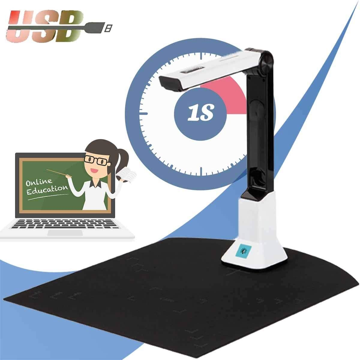 EBWLI Document Camera, Professional Portable Book Scanner with Smart Multi-Language Ocr Integrated Image Optimization Real-time Projection Function for Educators Professionals on The Go