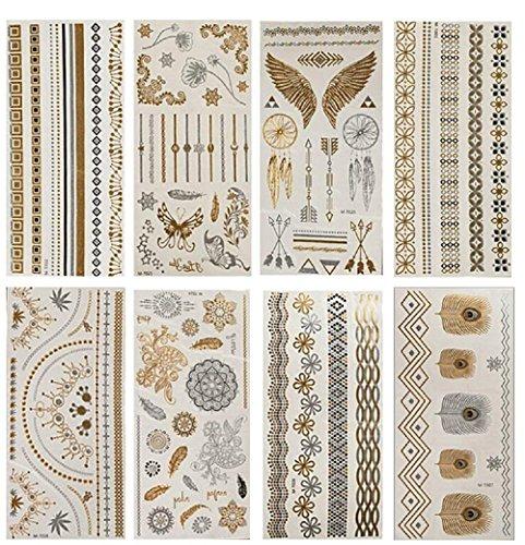 NOVAGO Pack de 8 Planches de 21x10 cm de Tatouages éphémères métalliques brillants (doré et argenté), motifs variés (Brillant)
