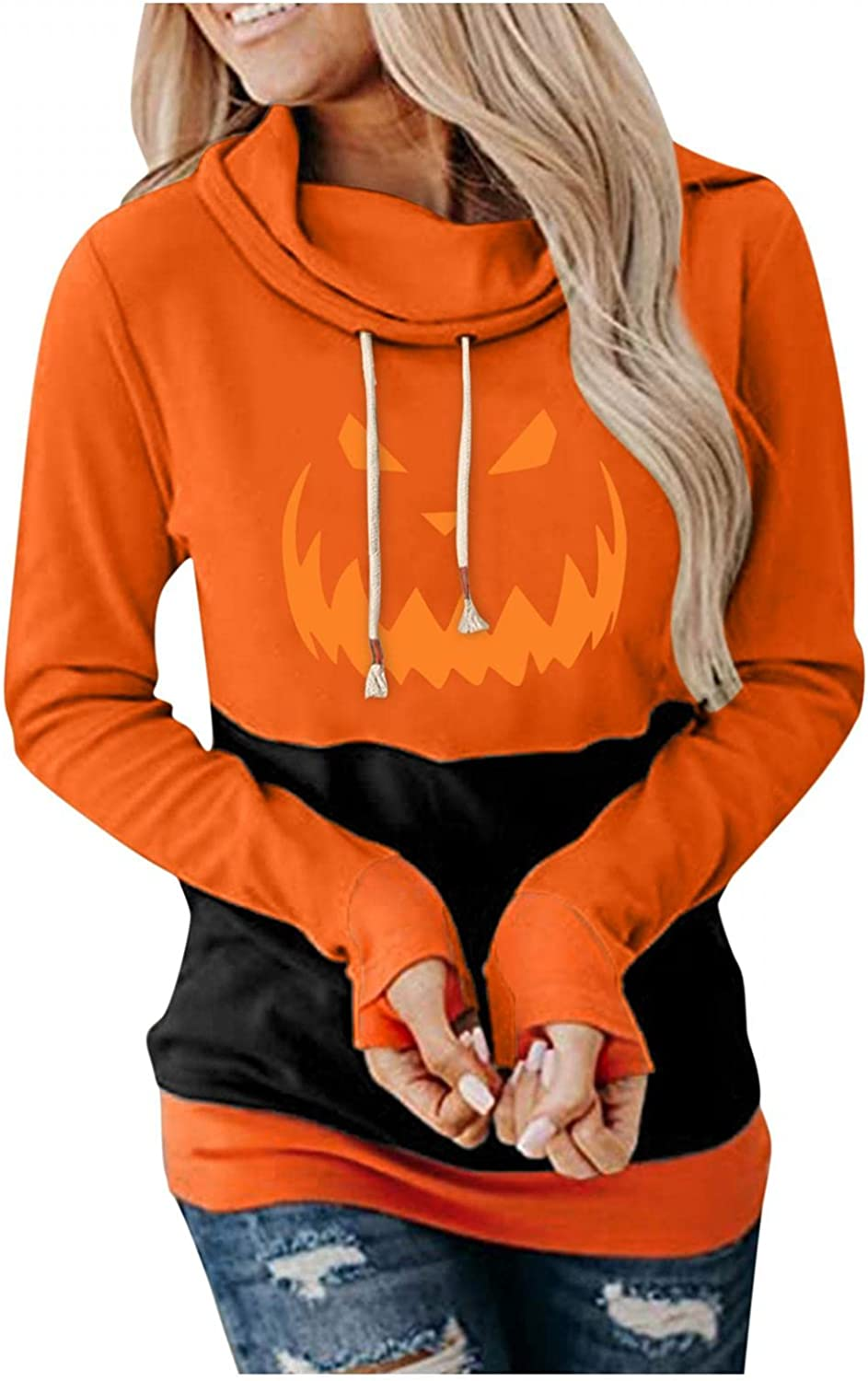 Oiumov Halloween Shirts for Women Off Shoulder Graphic Vintage Pumpkin Face Casual Loose Pullover Tops Sweater Shirts