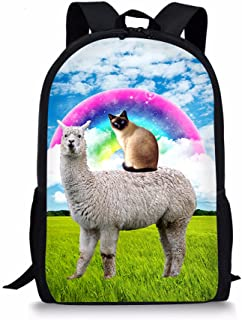 Grassland Siamese Cat Ride Llama Print Kids School Backpack for Elementary Girl Boy