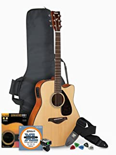 Yamaha FGX800C Solid Top Folk Acoustic-Electric Guitar - Natural with Gig Bag and Accessories Bundle