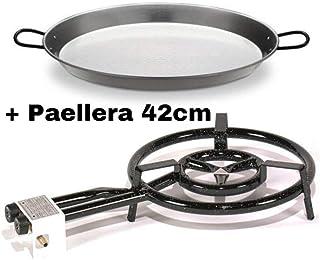 VAELLO Campos Q400- Quemadora a Gas 400mm + Paellera Pulida 42cm Con Garantia