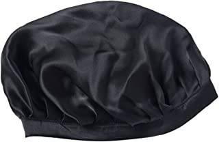 MagiDeal Women's Silk Sleeping Cap Night Sleep Hat Hair Care Scarves Bonnet Hat Headwear - Black, as described