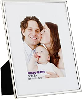 RPJC 8x10 Picture Frames Made of Metal (Steel) and High Definition Glass Display Pictures 5x7 with Mat or 8x10 Without Mat for Wall Mounting Photo Frame Silvery