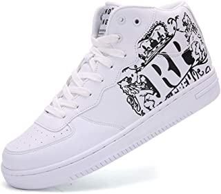 Men's Leather Grand Court Sneaker Fashion Mid Top Hip Hop Printed Shoes for Mens
