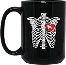 Skeleton Rib Cage Standard Schnauzer Heart Dog Lover 15 oz. Black Mug