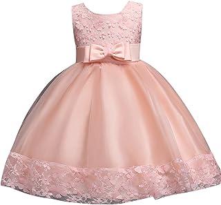 Vestido De Princesa Elegante Hilado Neto Bordado Flores Pajarita para Niñas Bebés Infantil De Bautizo Fiesta Boda