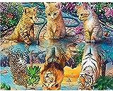 YOFUHOME Pintura de Diamante 5D Pintura de Diamante Novedades Gato Tigre León Leopardo Cuadrado Completo Bordado de Diamantes Redondo Paisaje Diamante Mosaico Animales Arte 40 * 50 CM