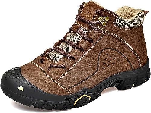 Willsky Zapaños de Senderismo para hombres, Zapaños para Caminar Impermeables Hauszapatos de Deporte con Cordones Altas TransPiñables Antideslizantes para Trekking,marrónplusvelvet,38