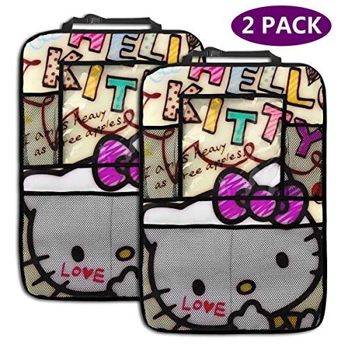 TBLHM Love Happy Hello Kitty Lot de 2 Sacs de Rangement pour siège arrière de Voiture avec Support pour Tablette