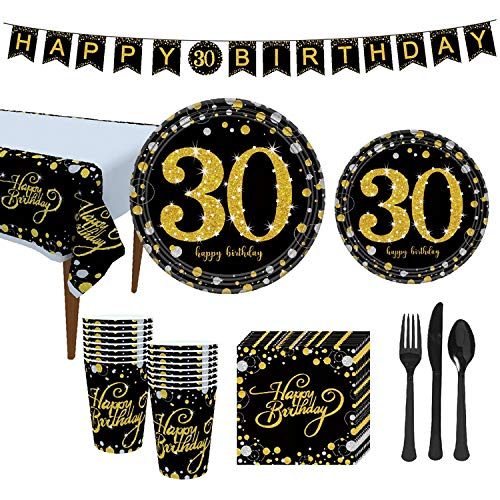 VAINECHAY 16 Gäste Einweg Pappteller Partyzubehör Partygeschirr Folie Pappteller Servietten Pappbecher Trinkhalme Messer Gabel Löffel Tischdecke Banner 30.Geburtstag Schwarze Gold, 114 Stück