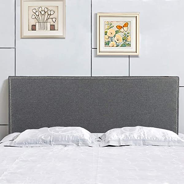 Headboard Fabric Upholstered Modern Queen Size With Linen Tufted Heavy Duty Button In Gray