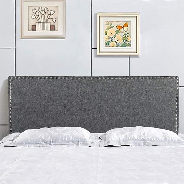 床头板织物软垫现代大号与亚麻簇绒重型按钮在灰色