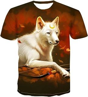 夏服メンズ3Dプリント Tシャツ創意,動物、白狼、三日月頭,デザイン ファション カジュアル おもしろ おしゃれ 男女兼用半袖 個性的Tシャツ 吸汗速乾 トップス