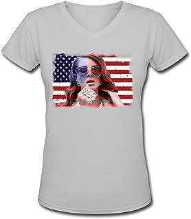 AOPO Lana Del Rey Usa Flag Vネック半袖Teeシャツの女性