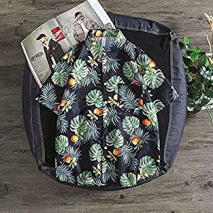 AAUU Hawaiian Flower Shirt Men's Retro Thin Section Casual Japanese Kimono (Color : Black, Size : XL)