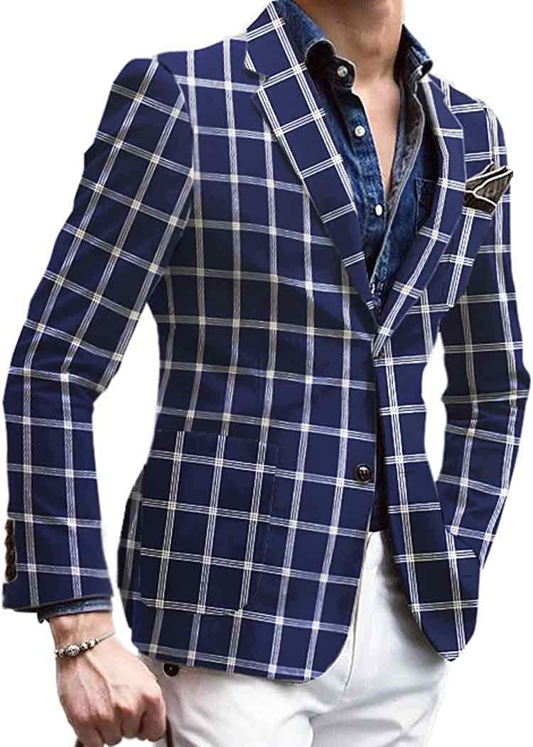 INMONARCH Mens Slim fit Checks Navy Blue Sport Jacket Coat VBP31