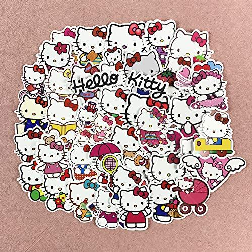 BUCUO Dibujos Animados Lindo Hello Kitty Coche eléctrico Casco Pegatinas Impermeable Equipaje decoración Pegatinas de Pared 52 Piezas
