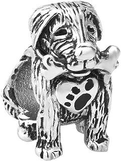 Q&Charms Cute Dog Charms Bone Heart Pawprint European Bead Fit Pandora Chamilia Charm Bracelet