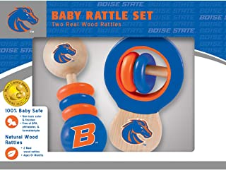 MasterPieces NCAA Boise State Broncos, Natural Wood, Non-Toxic, BPA, Phthalates, & Formaldehyde Free, Baby Rattle, 2 Pack