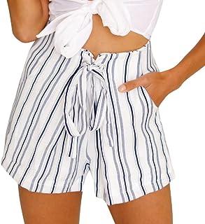 10e7647597b88 Funic Womens Sexy Striped Hot Pants Summer Casual Shorts Lace Up Short Pants