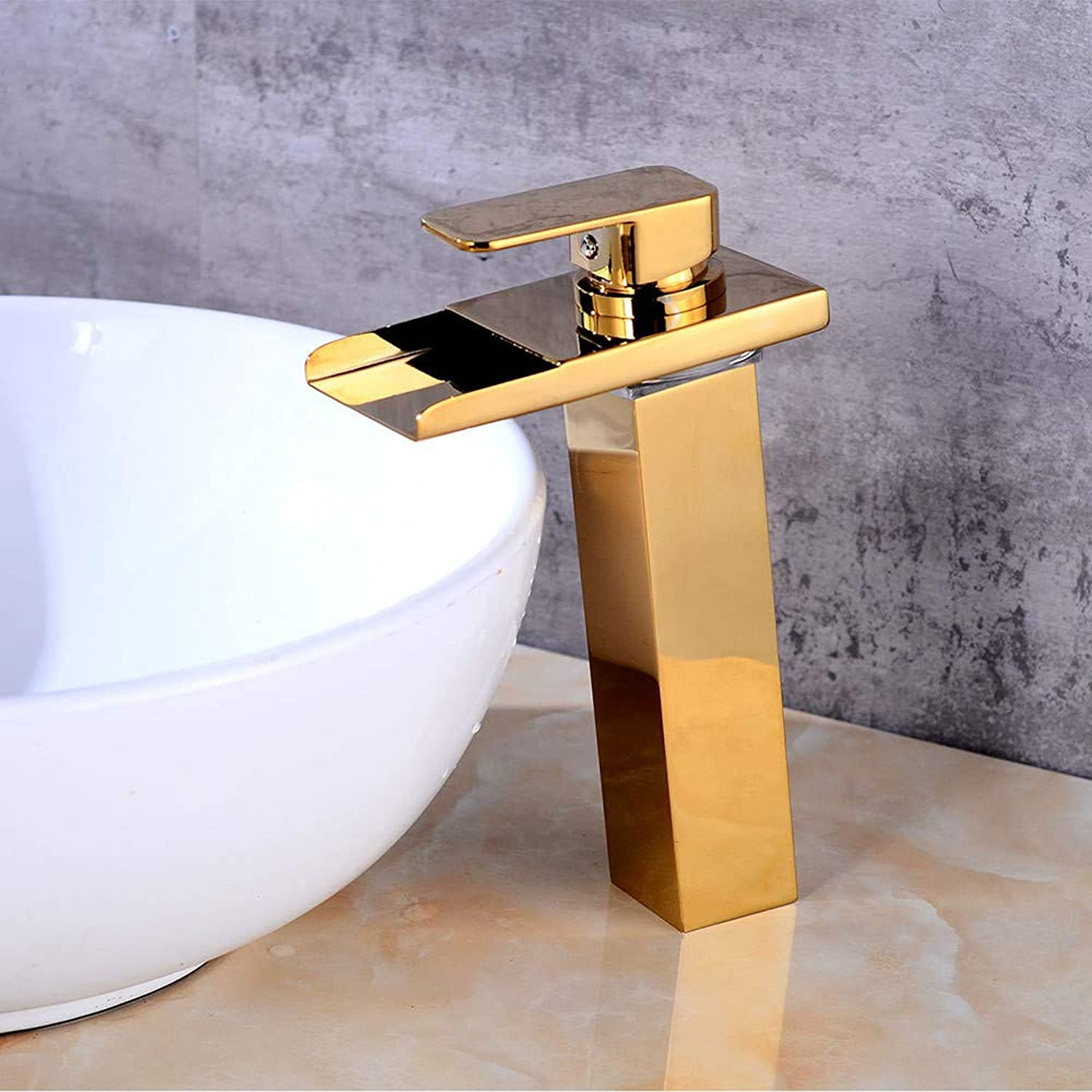 redOOY Taps Faucet Basin Full Copper gold Basin Faucet Bathroom Led Waterfall Faucet Wash Basin Hot And Cold Water Faucet gold